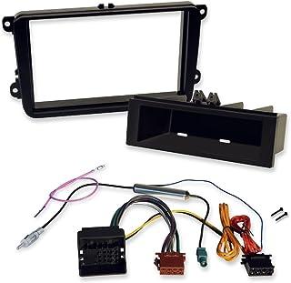 2 DIN und 1 DIN morebasics Einbauset kompatibel mit VW zum Einbau von Autoradios und Navis mit Doppel Din Radioblende und Radioadapter Quadlock auf ISO.