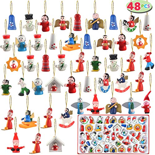 JOYIN Wooden Mini Christmas Ornaments Set of 48 Piece