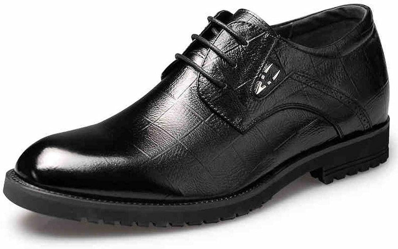 GOG Men's Cow Leather Dress Business shoes Elevator Black