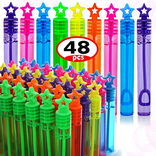 GIFTEXPRESS 48 Pcs Mini Star Bubble Wands, Assortment Pastel Color, Perfect Wand bubble for Wedding Favor, Anniversaries, Party Favors, Birthday Party, Bubbles Fun Toys For Girls and Boys