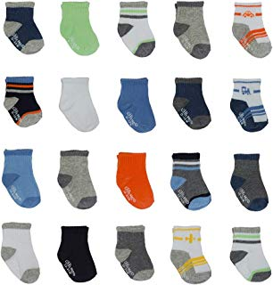 Little Me 20 Pair Pack Unisex Baby Infant Newborn Boys Anklet Socks in Gift Box Set, Sport, Multi, 0-12/12-24 Months