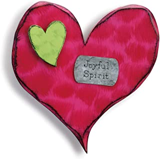 DEMDACO Joyful Spirit Green and Red 11 inch Fir Wood Composite Decorative Wall Art Sign