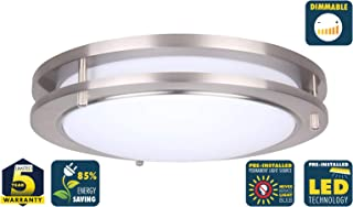 CORAMDEO 10 Inch LED Satin Nickel Ceiling Flush Mount Light for Hallways, Bedrooms, Entry or Kitchen, Built in LED Gives 100W of Light from 14W of Power, Dimmable, Satin Nickel Finish, Acrylic Lens