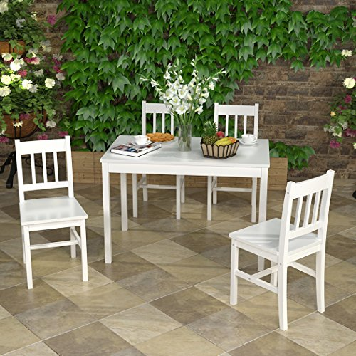 Solid Wood Pine Dining Table Set with 4pcs I Shape Chairs set Kitchen Room Furniture Set (Full White)