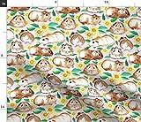 Spoonflower Stoff – Meerschweinchen, Gänseblümchen,