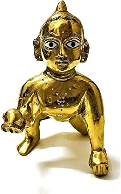 Brass Laddu Gopal Baby Krishna Kishan Thakurji Murti Figurines Idols Puja Home Decor Statue Gift (Free Assorted Color Dress Accessories)- 2 Inch Approx