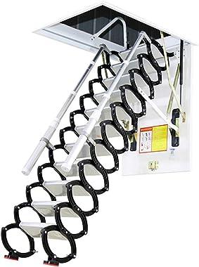 Metal Retractable Ladder for Loft Home Folding Step Ladder Attic pulldown Ladder Hinge 5ft-11ft (Hole 4.59ft2.62ft,Height 9.8