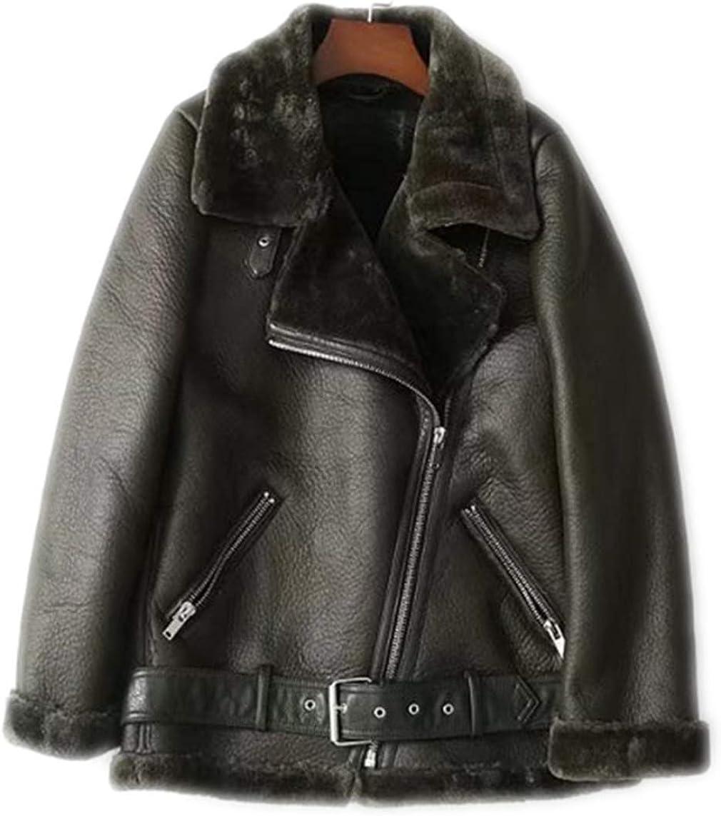 CHARTOU Women's Winter Notched Collar PU Fleece Lined Belted Moto Short Jacket Coat