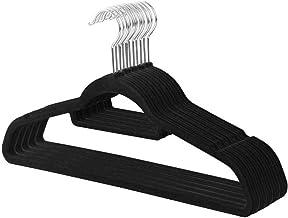 clothes airer Wall Hanger Flocking Hanger Non-slip Plastic Flocking Velvet Coat Flocked Custom Hanger Seamless (Color:Black)