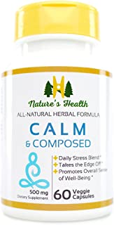 Calm & Composed, Passion Flower with Valerian Root, Daily Stress Supplement, Relax and Unwind, Good Night's Sleep, 1000 MG...