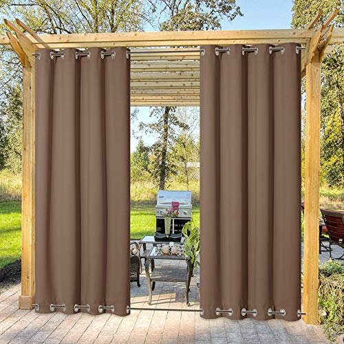 NICETOWN Patio Waterproof Outdoor Curtain, Thermal Insulated Stainless Steel Double Grommets (Top and Bottom) Wind-Break Outdoor Drape Keep Privacy for Pergola, 1 Panel, W52 by L84, Tan-Khaki