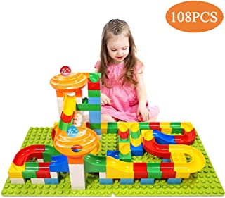 TEMI 108 PCS Marble Run Upgraded Sets for Kids, Marble Race Track for 3+ Year Old Boys and Girls, Marble Roller Coaster Building Block Construction Toys, Puzzle Maze Set with 4 Marbles Balls