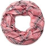 styleBREAKER fular de tubo con motivo a cuadros, ligero y sedoso, pañuelo, mujeres 01016103, color:Coral