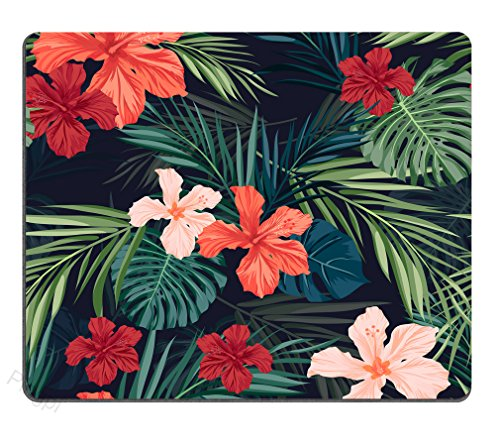 Pingpi Pretty Mouse Pad Custom,Tropical Plants Flowers in The Palm Trees Banana Leaves Mouse Pad