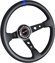 Rxmotor Drifting Deep Dish 350mm 6 Hole Sport Steering Wheel Racing Trim Universal (BLACK BLUE)