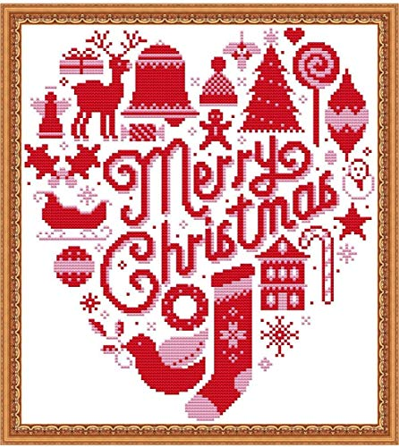 Cross Stitch Stamped Kits Holiday Gift 11CT 15X16 inch Pre-Printed Cross-Stitching Starter Patterns for Beginner Kids or Adults, Embroidery Needlepoint Kits Merry Christmas