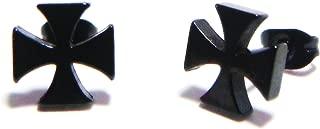 Cross Stud Earrings, Anodized 316L Stainless Steel Posts, Semi-Matte Finish