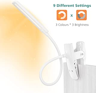 LENCENT Luz Lectura Lámpara de Escritorio 24 LED recargable, 9 Modos de Brillo (LED cálido y blanco) Lámpara de Libro Clip para Camas, Pinza de LED en la Lámpara Batería para Cabecera, Oficina
