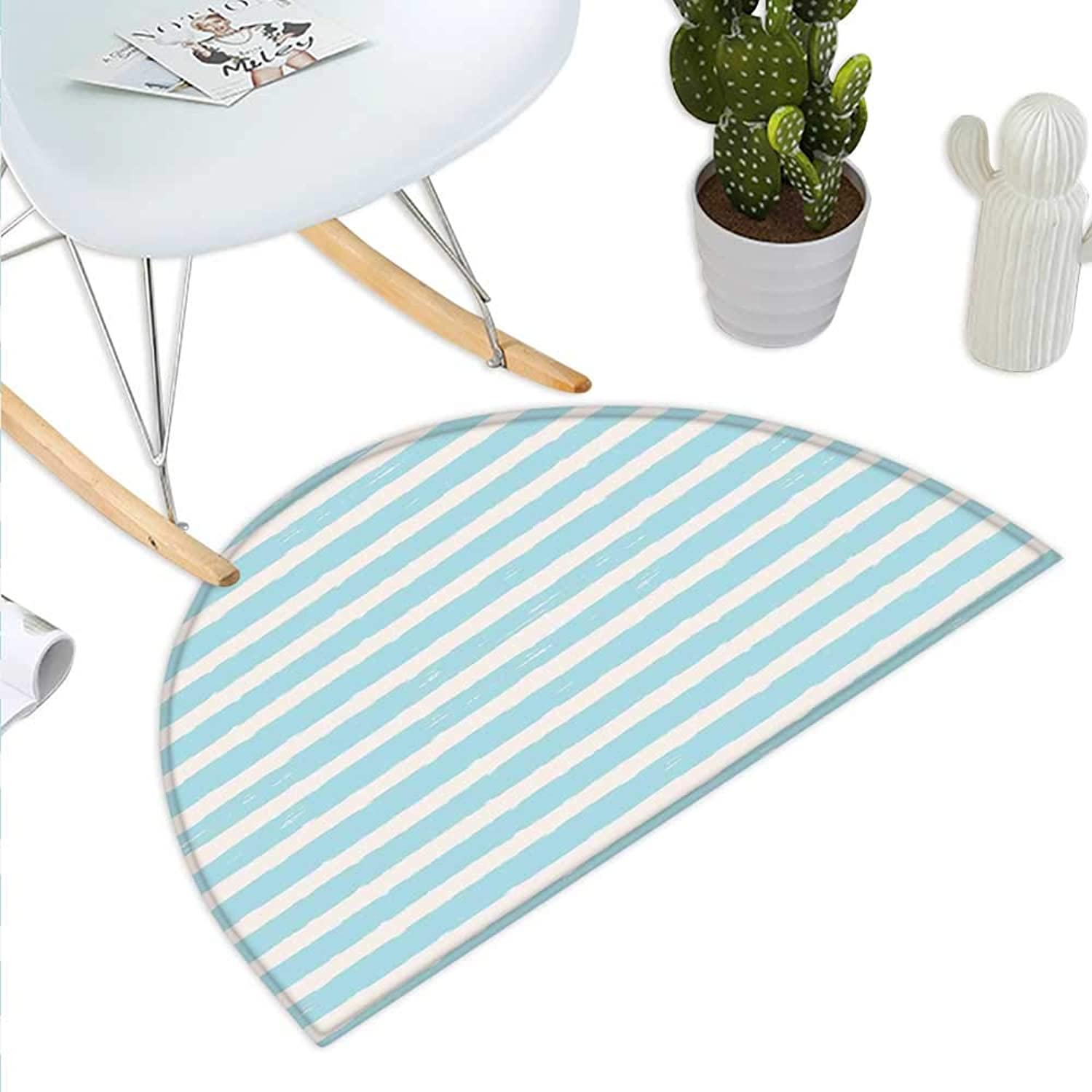 Kids Semicircle Doormat Horizontally Striped Pattern with Brushstrokes Grunge and Weathered Look Halfmoon doormats H 43.3  xD 64.9  Pale bluee and Off White