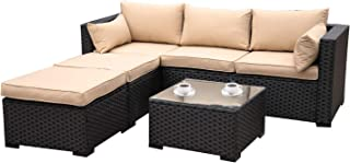 Outdoor Sectional Sofa Set 4-Piece Patio PE Black Wicker Rattan Conversation Furniture with Khaki Cushion