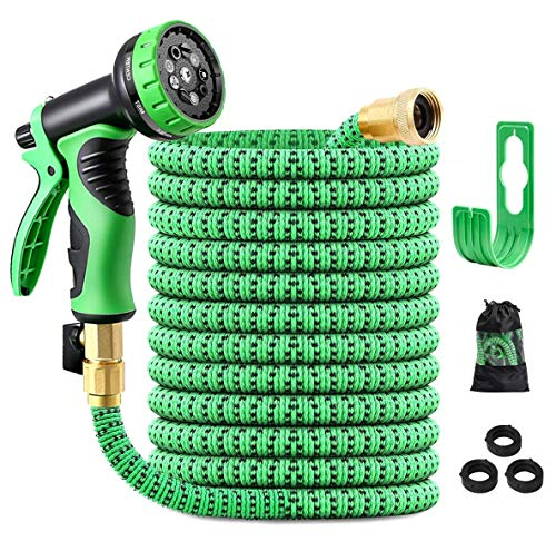 """ERTDDE 50FT Expandable Garden Hose Water Hose with 10-Function High-Pressure Spray Nozzle, Heavy Duty Flexible Hose, 3/4"""" Solid Brass Fittings Leakproof Design"""