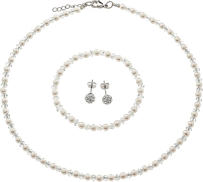 LZMEI 4mm Faux Crystal Glass Imitation Pearls Necklace Bracelet Earring Jewelry 3 Sets for Women Girls