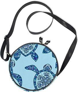 Damen Runde Handtasche Cartoon Meer Schildkröte Blau Mehndi Stil Canvas Crossbody Bag Circle Geldbörse für Damen Mädchen