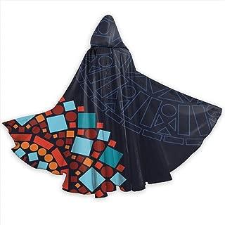 GULTMEE Adult Hooded Halloween Cloak Costumes Party Cape,Colorful Geometric Circular Mandala Motifs Framework Moroccan Mosaic Style Ethnic