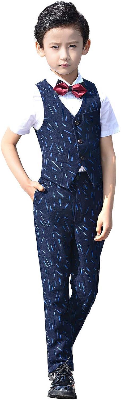 Boys 4 Pieces Suit Vest Set Pants Shirt with Bowtie Brown Burgundy and Blue