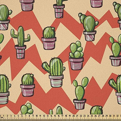 ABAKUHAUS Kaktus Stoff als Meterware, Zickzack-Hintergrund-Pflanze, Seidiger Satin Stoff für Polster Heimtextilien, 1M (148x100cm), Mehrfarbig