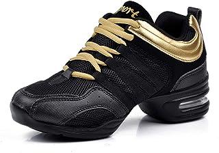 Padgene Zapatillas de Jazz para Mujer, con Cordones, cojín Transpirable para Mujer, Suela Dividida, Zapatillas de Danza de...