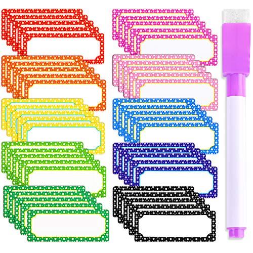 50 Pcs Magnetisch Trocken Löschen Etiketten Whiteboard Etiketten Namensschild Etiketten Flexible Magnetisch Etiketten ideal für Zuhause Schule Büro