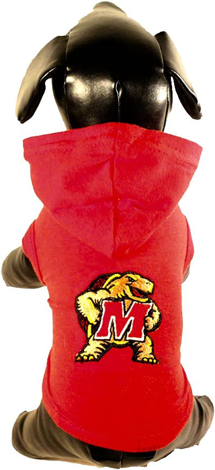 All Star Dogs Maryland Terrapins Collegiate Cotton Lycra Hooded Dog Shirt (Team color, XXLarge) Red