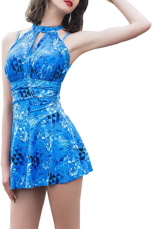FENGMING Frauen, die eingebaute Schale EIN Stück Badeanzug Badeanzug Badeanzug Swimdress abnehmen (Farbe   Blau, gre   M)