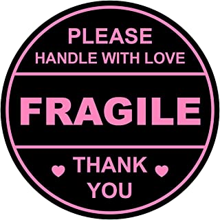 2 inch 300 PCS Black Pink Fragile Handle with Love Labels Stickers Shipping Mailing Cartons Envelops Adhesive Labels-Posko...
