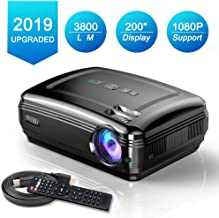 Projectors, FUJSU Full HD Video Projectors for PowerPoint Presentation, 3800LM Home Movie Projector for Laptop, PC, TV, iPad, iPhone, Android, SD Card,AV,VGA,USB Stick