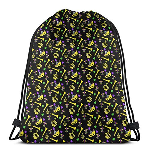 XCNGG crown mask hearts Unisex Drawstring Backpack Bag, Polyester Cinch Sack, Waterproof Sport Gym Bag Casual Daypack for Women Men