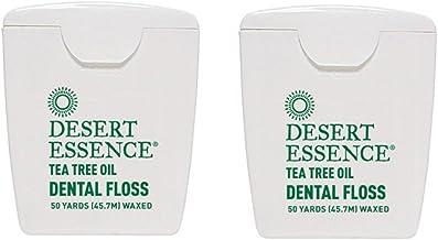 Desert Essence Tea Tree Oil Dental Floss, No alcohol, 50 Yards (45.7 M) Waxed (Pack of 2)