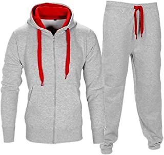 RkYAO Mens Tracksuit Zip Hooded Contrast Casual Sports Jacket and Pants Set