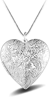 Heart Photo Locket Necklace With Exquisite Carving - Silver Plated - Birthday Valentine's Gift