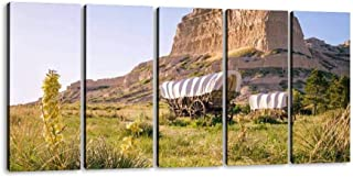 SIIKEI Conestoga Covered Wagons, Scotts Bluff National Monument, Oregon 5 Panel Wall Art Canvas for Home Decor Paintings Contemporary Artwork Framed Ready to Hang Posters and Prints (60''Wx32''H)
