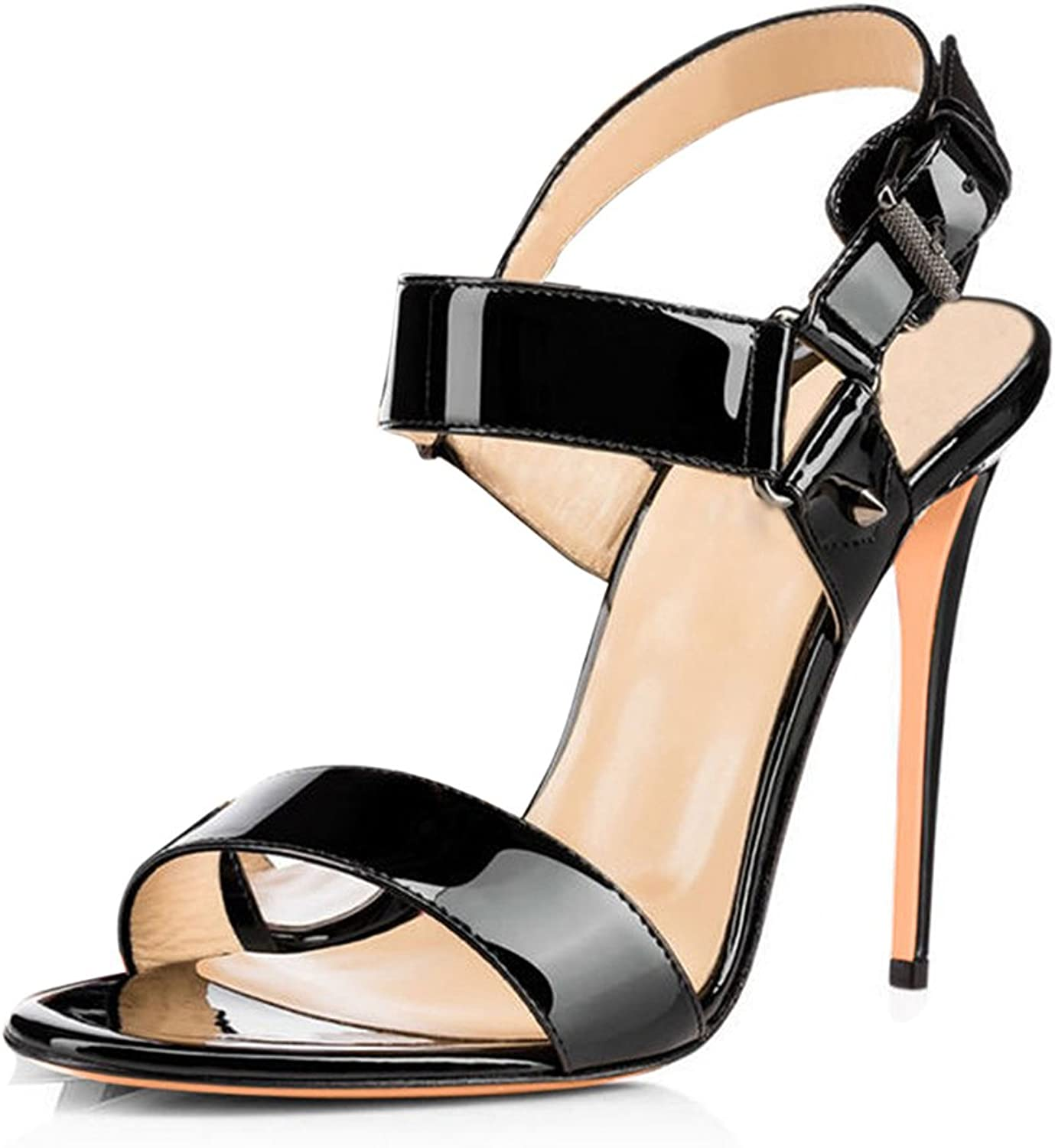 Women's Buckle High Heel Sandals Patent Leather shoes Fashion Round Head shoes Stiletto Sandals(Heel Height 11-13cm)