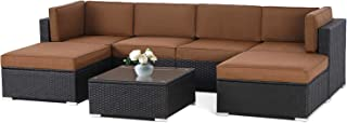 Oakmont 7 PCs Outdoor Patio Furniture Sets All-Weather PE Rattan Wicker Sectional Sofa with Square Glass Top Table Thick Olefin Cushions with YKK Zippers (Brown)
