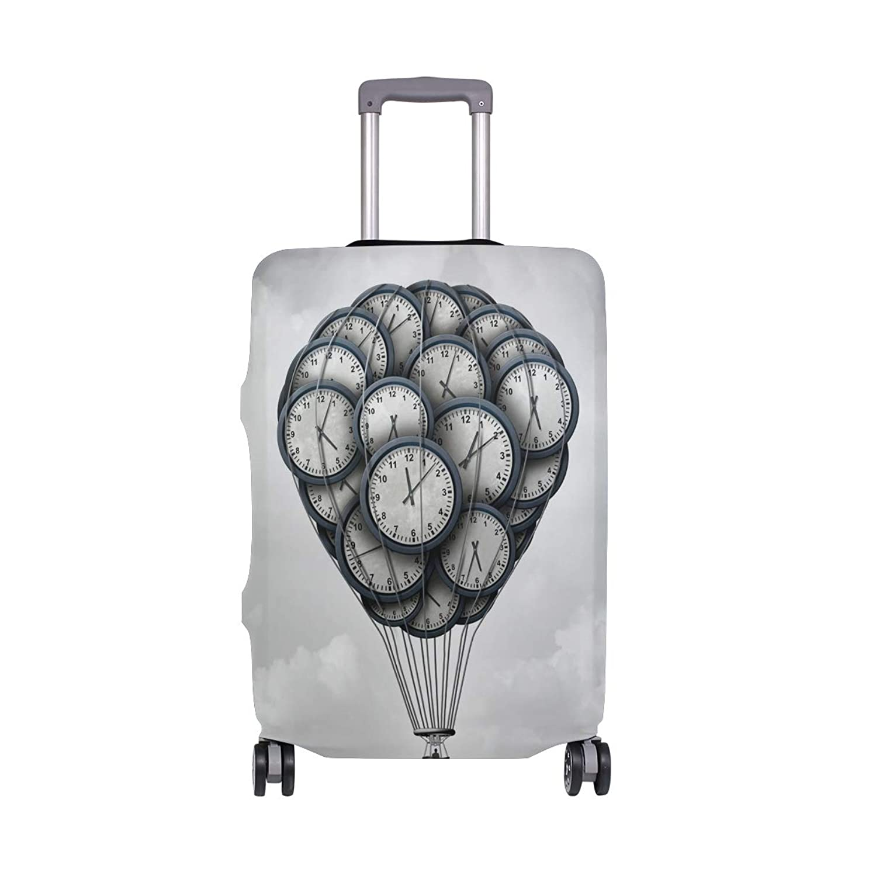 種をまく本土失効スーツケースカバー 熱気球 時計 空 伸縮素材 保護カバー 紛失キズ 保護 汚れ 卒業旅行 旅行用品 トランクカバー 洗える ファスナー 荷物ケースカバー 個性的
