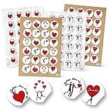 96 Stück Aufkleber Sticker Set: SCHÖN DASS DU DA BIST + DANKE + neutrale schwarz weiß rote Sticker Emoji Liebe Herz - Deko zur Hochzeit, Geburtstag