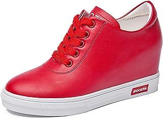 [幸福マーケット] スニーカー レディース インヒール ウェッジソール 7cmヒール 厚底 黒 白 赤 防水 レースアップ 紐 防臭 蒸れない 軽量 快適 カジュアル シューズ 靴 通勤 通学 歩きやすい 美脚 可愛い おしゃれ