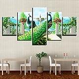 QFQH Farmework Leinwand Poster Modular Home Decor HD Gedruckt 5 Stück Peacock Paar Gemälde an der Wand Kunst Garten Brunnen Bilder für Wohnzimmer, große