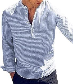 Camisa a Rayas para Hombre Promoción Moda Manga Larga Cuello Henry Regular Fit Shirt Hombres Básica Casual Blusa con Botón...