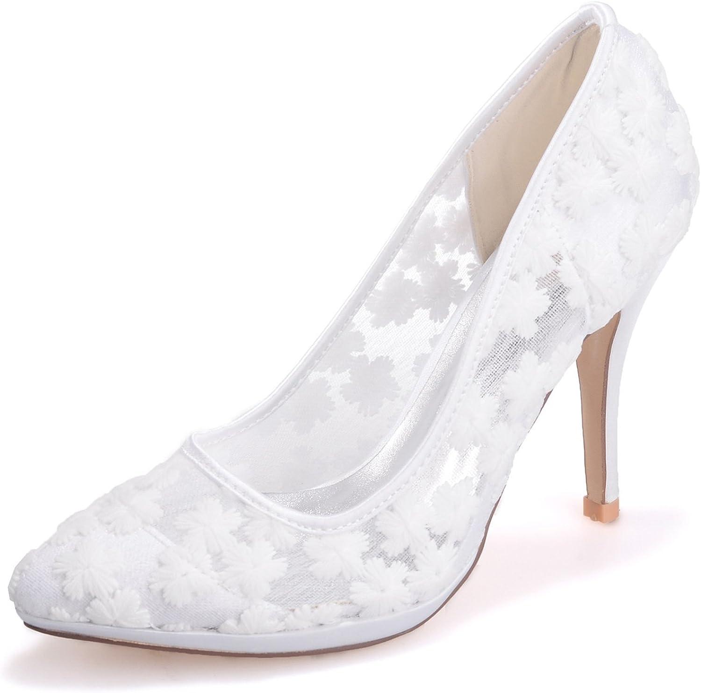 Elobaby Frauen Hochzeit Schuhe Party Handmade Spitzen High High Heels Mid Elfenbein (10cm Heel)   Kleid  Rabatte kaufen
