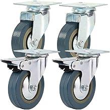Zwenkwielen wielen trolley wielen 4-delige industriële plaatwielen met laag profiel |Zacht rubberen zwenkwiel met rem voo...